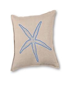 Starfish Applique Burlap Pillow Front Panel Interior Cotton Lined