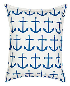 Anchor Repeat Cotton Canvas Pillow