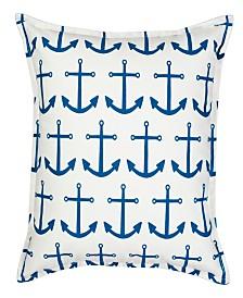 Anchor Repeat Cotton Canvas Pillow