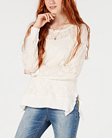 American Rag Juniors' Crocheted Top, Created for Macy's