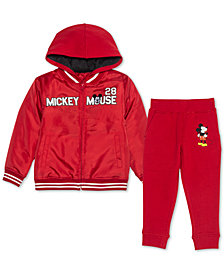 Disney Little Boys 2-Pc. Mickey Mouse Varsity Jacket & Joggers Set