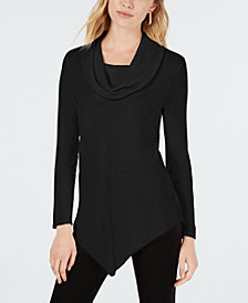 BCX Asymmetrical-Hem Cowl-Neck Sweater