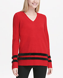 Calvin Klein Faux Fur Striped V-Neck Sweater