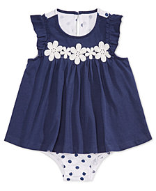 First Impressions Baby Girls Crochet Flower Skirted Cotton Romper, Created for Macy's