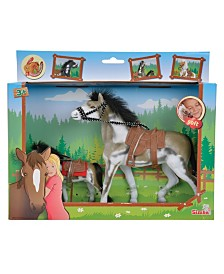 Simba Toys -Champion Beauty Horse With Foal, White And Brown With Black Mane And Tail