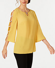 JM Collection Jeweled-Neck Ladder-Sleeve Top, Created for Macy's