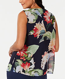 JM Collection Printed Split-Front Sleeveless Blouse, Created for Macy's