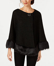 JM Collection Faux-Fur-Trim Poncho, Created for Macy's