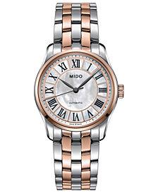 Mido Women's Swiss Automatic Belluna II Two-Tone Stainless Steel Bracelet Watch 33mm