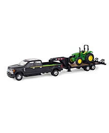 - Ertl Ford Pickup With Gooseneck Trailer And John Deere Tractor