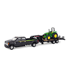Ertl - Ford Pickup With Gooseneck Trailer And John Deere Tractor