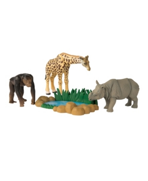 Tomy - Ania Safari Quest Value Pack Of Giraffe, Rhinoceros, Chimpanzee And A Watering Hole