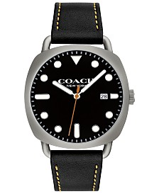 COACH Men's Tatum Black Leather Strap Watch 40mm