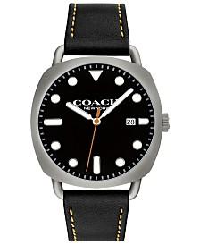 COACH Men's Tatum Black Leather Strap Watch 40mm