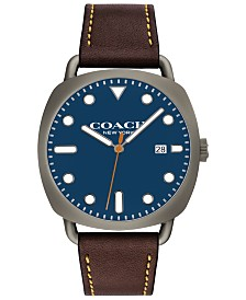 COACH Men's Tatum Brown Leather Strap Watch 40mm