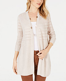 Style & Co Petite Mixed-Knit Duster Cardigan, Created for Macy's