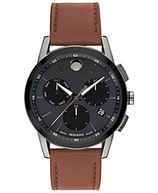 Men's Swiss Chronograph Museum Sport Cognac Leather Strap Watch 43mm