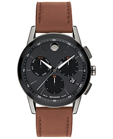 Movado Men's Swiss Chronograph Museum Sport Cognac Leather Strap Watch 43mm