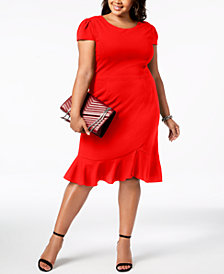 Betsey Johnson Plus Size Ruffled-Hem Midi Dress