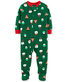 Carter's Baby Boys Holiday-Print Footed Fleece Pajamas