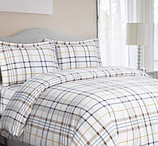 Modern Plaid Cotton Flannel Printed Oversized King Duvet Set