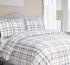 Modern Plaid Cotton Flannel Printed Oversized King Duvet Set
