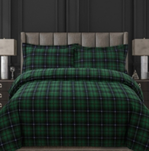 Cambridge Plaid Cotton Flannel Printed Oversized King Duvet Set Bedding