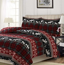 Holiday Plaid Printed Heavyweight Flannel Oversized King Duvet Set