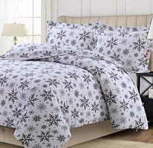 Let it Snow Heavyweight Cotton Flannel Printed Oversized Queen Duvet Set
