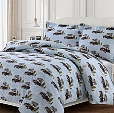 Winter Outing Cotton Flannel Printed Oversized King Duvet Set