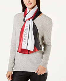 Calvin Klein Colorblocked Satin Stripe Scarf