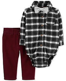 Carter's Baby Boys Plaid Cotton Bodysuit, Pants & Bowtie Set