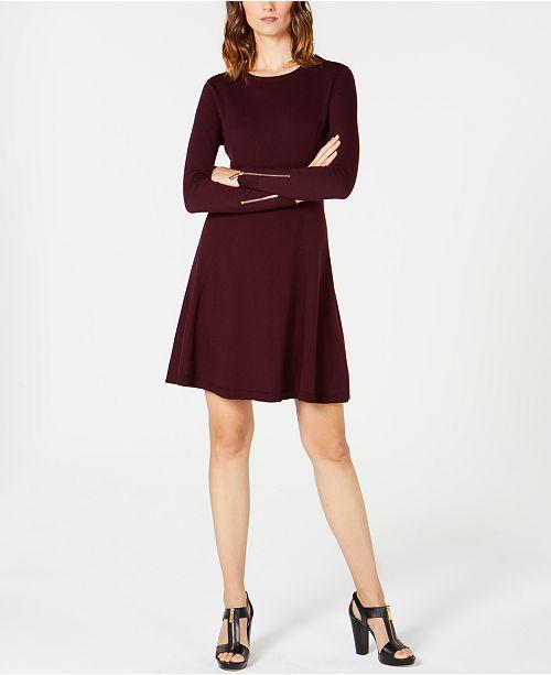 ac07c0aac2 Michael Kors Petite Zip-Sleeve Sweater Dress   Reviews - Dresses ...