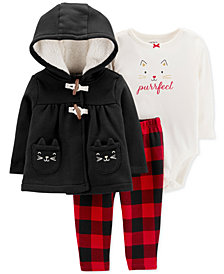 Carter's Baby Girls 3-Pc. Purrfect Fleece Jacket, Bodysuit & Leggings Set
