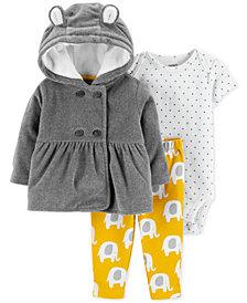 Carter's Baby Girls 3-Pc. Hooded Jacket, Dot-Print Bodysuit & Elephant-Print Pants Set