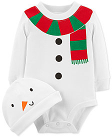 Carter's Baby Boys or Baby Girls Snowman Cotton Bodysuit & Hat Set