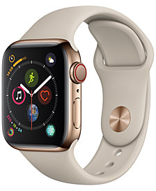 AppleWatch Series4 GPS+Cellular, 40mm Gold Stainless Steel Case with Stone Sport Band