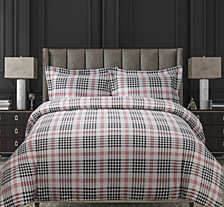 Plaid Cotton Flannel Printed Oversized King Duvet Set
