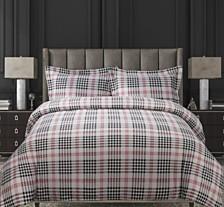 Plaid Cotton Flannel Printed Oversized King Duvet Set