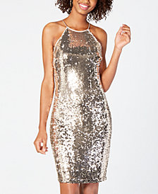 Sequin Hearts Juniors' Sequined Bodycon Dress