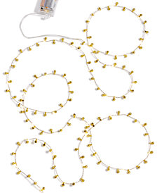 Holiday Lane LED Gold Beaded & Lighted Garland, Created for Macy's