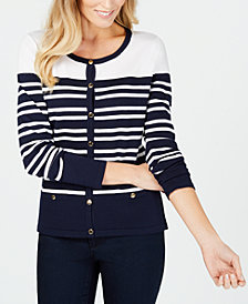 Karen Scott Striped Button-Detail Cardigan, Created for Macy's