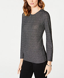 MICHAEL Michael Kors Petite Ribbed Metallic Sweater