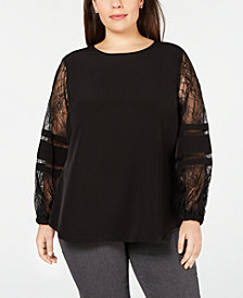 Calvin Klein Plus Size Lace-Sleeve Solid Top