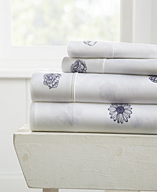 Home Collection Premium Ultra Soft Indigo Flowers Pattern 4 Piece Bed Sheet Set