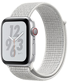 Apple Watch Nike+ Series 4 GPS + Cellular, 44mm Silver Aluminum Case with Summit White Nike Sport Loop