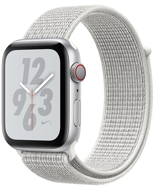 Apple Watch Series 4 Apple Watch Nike+ Series 4 GPS + Cellular, 44mm Silver Aluminum Case with Summit White Nike Sport Loop