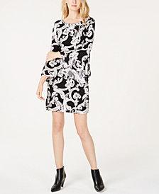 I.N.C. Bell-Sleeve Printed Sheath Dress, Created for Macy's