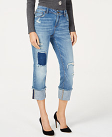 I.N.C. Destructed-Cuff Cropped Skinny Jeans, Created for Macy's