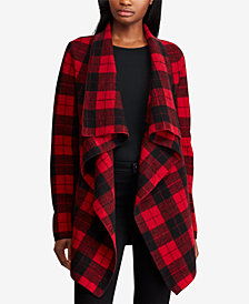 Ralph Lauren Petite Buffalo Plaid Wool Shawl Sweater